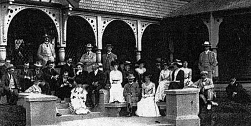Archive photo of the Rhodes family at Otahuna Lodge
